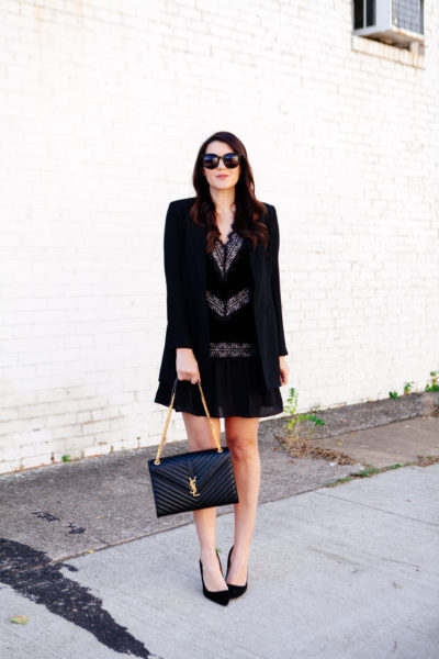 All black holiday outfit with velvet dress with black blazer on Kendi Everyday.