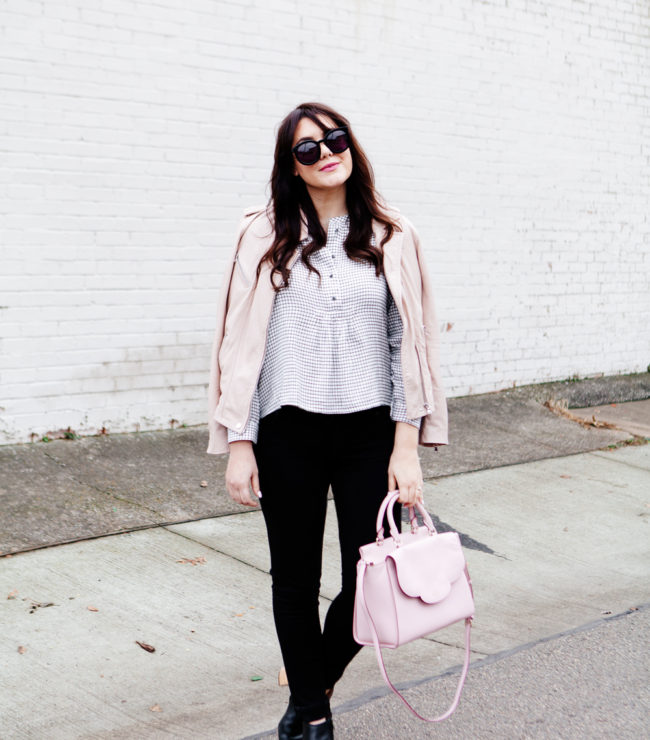 Pink Leather jacket over Madewell Button Down on Kendi Everyday