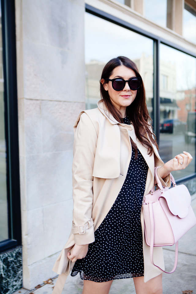 Topshop Polka Dot Dress and Trench Jacket on Kendi Everyday.