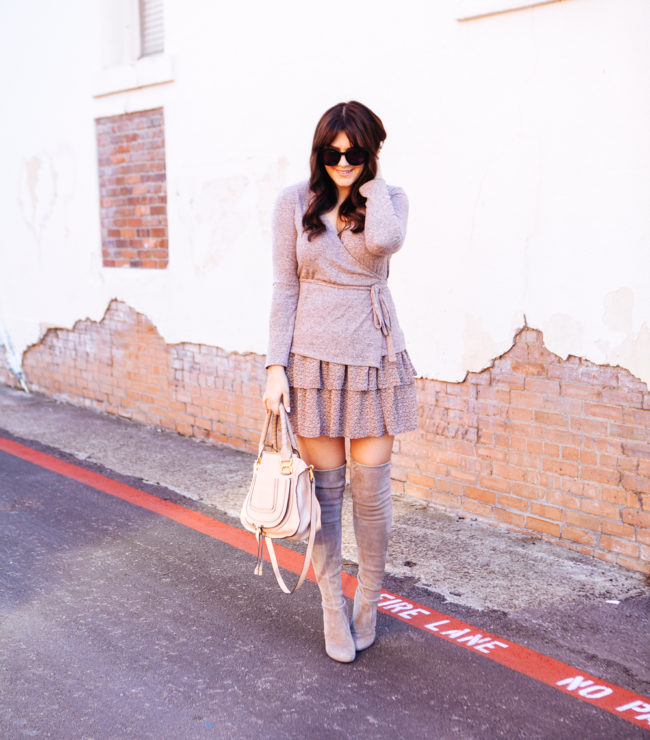 Under $100 Wrap Sweater with ASOS Floral Ruffle skirt on Kendi Everyday