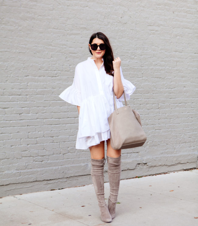 ASOS Layered Frill Hem Oversize Shirt with nude over the knee boots on Kendi Everyday.