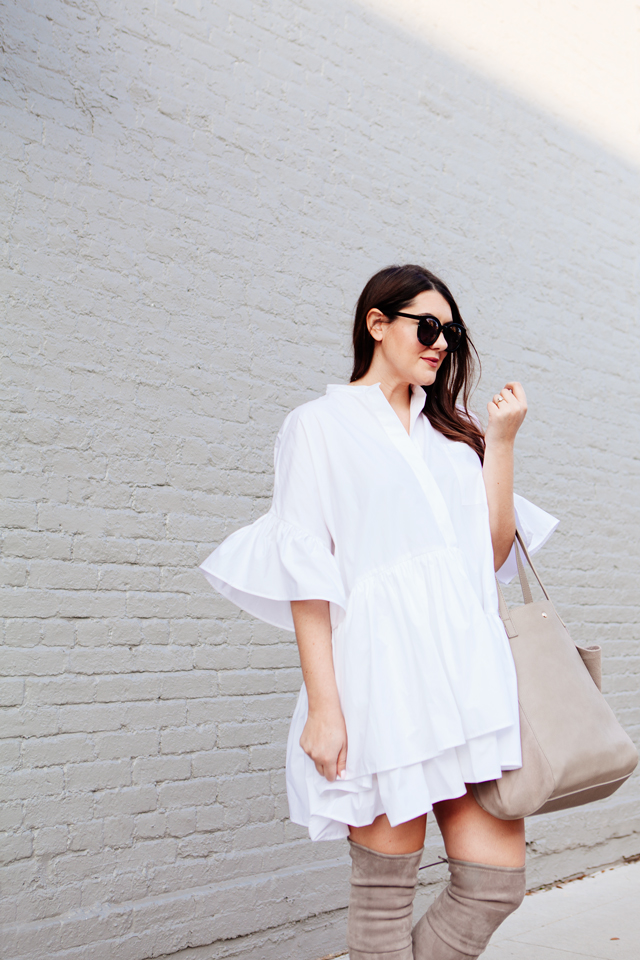 9d9d8e1c747 ASOS Layered Frill Hem Oversize Shirt with nude over the knee boots on  Kendi Everyday.