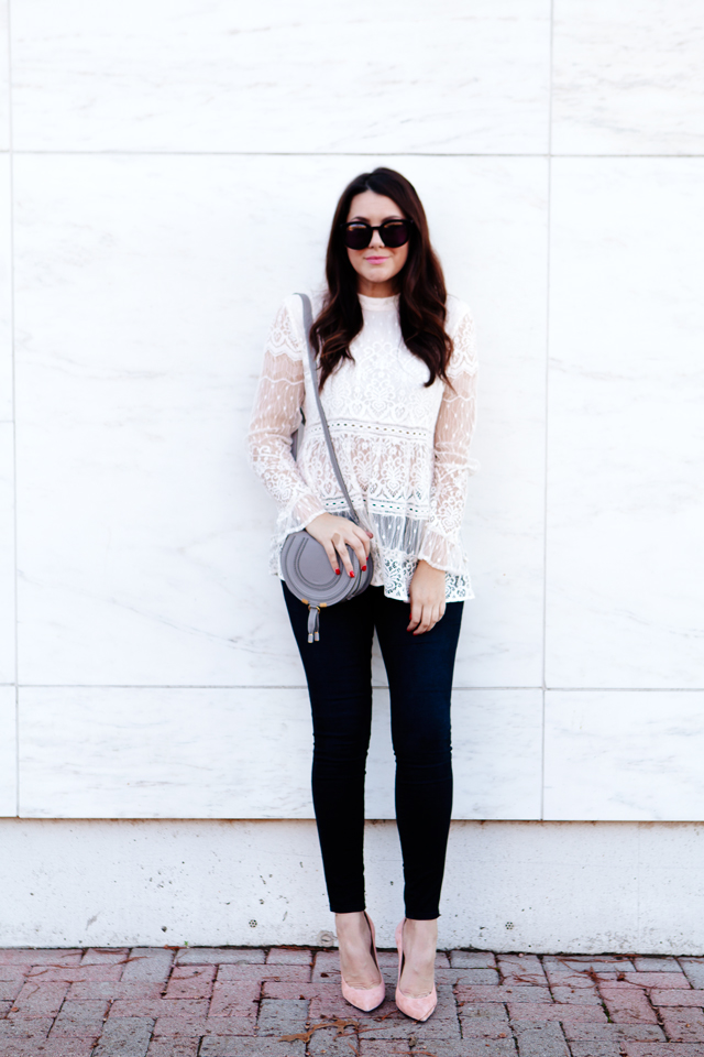 High neckline lace top with grey mini Chloe bag on Kendi Everyday