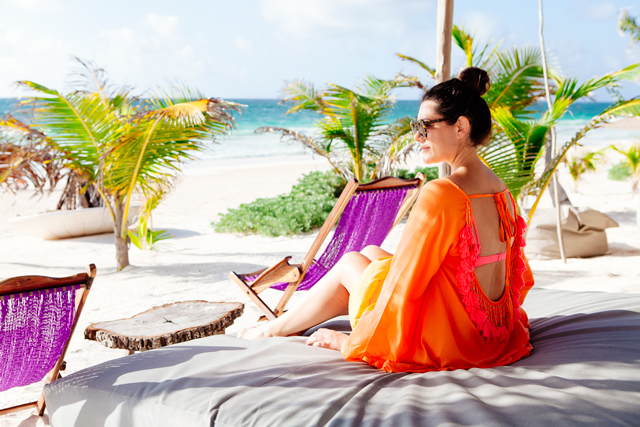 Orange and pink beach coverup in Tulum