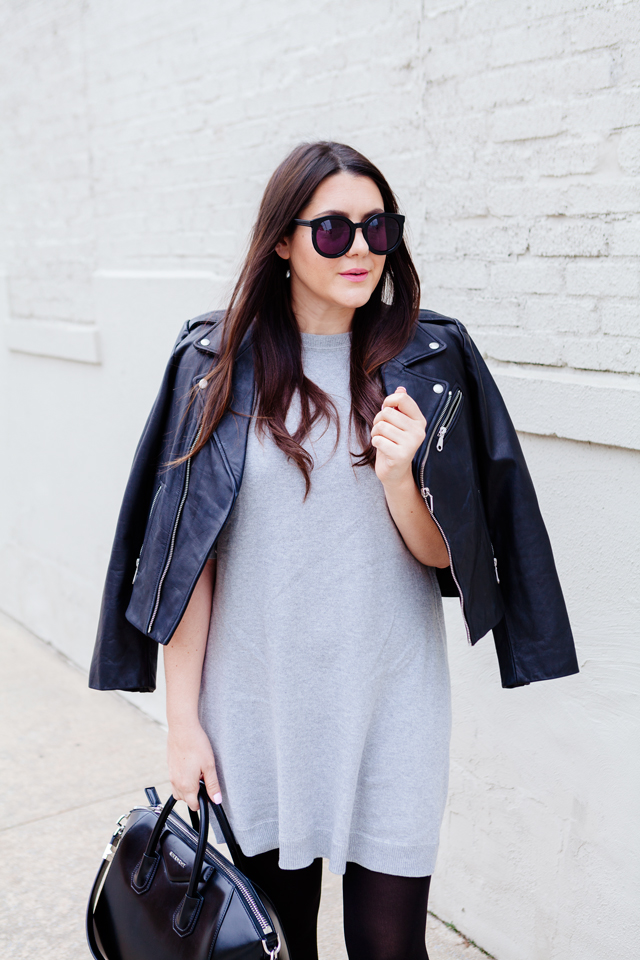 Grey Dress with black moto jacket.