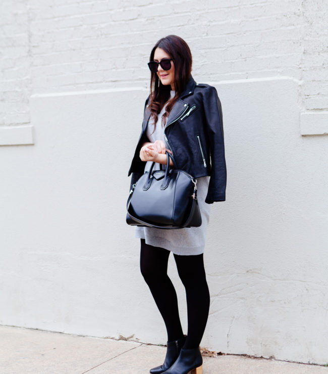 Grey Dress with black moto jacket.
