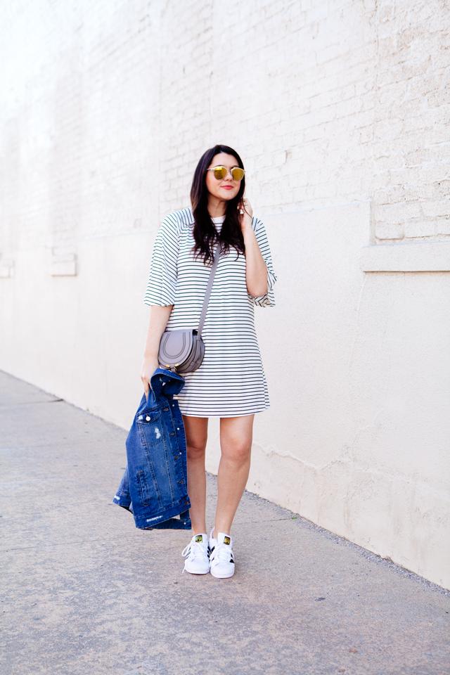 Fifth Label Striped Dress Small Chloe Marcie Bag Grey Nordstrom