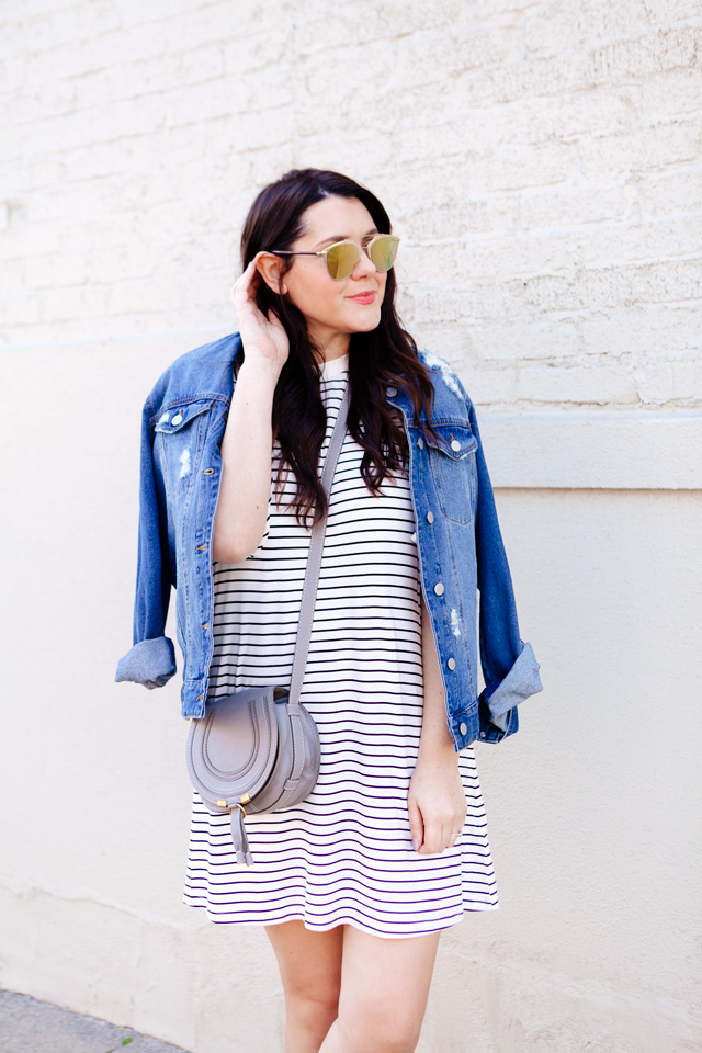 ed75df13440 black and white striped dress with denim jacket and adidas superstars