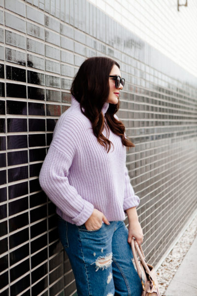 Rebecca Taylor La Vie Lilac Sweater with ripped boyfriend jeans, Chloe Medium Marcie Purse and Madewell suede sandals.