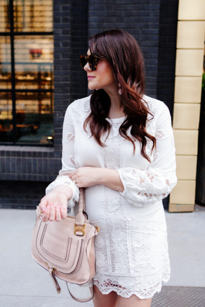 White lace dress and blush espadrilles on Kendi Everyday