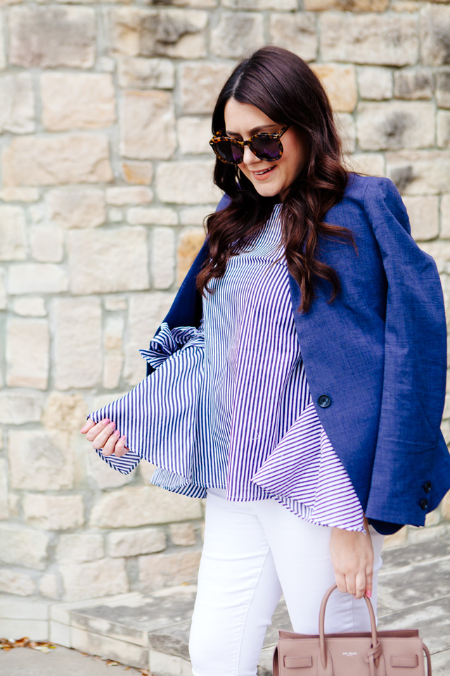 Chiciwsh Bow Sleeve Top with Loft Blazer and Maternity Denim on Kendi Everyday