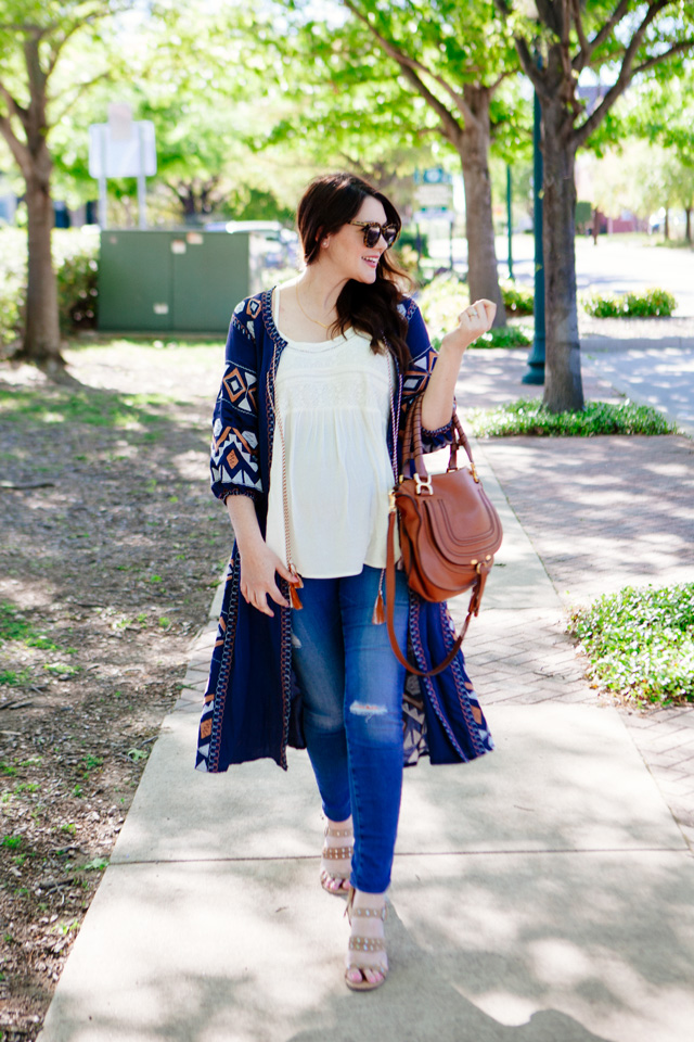 Embroidered cardigan for spring, maternity style.