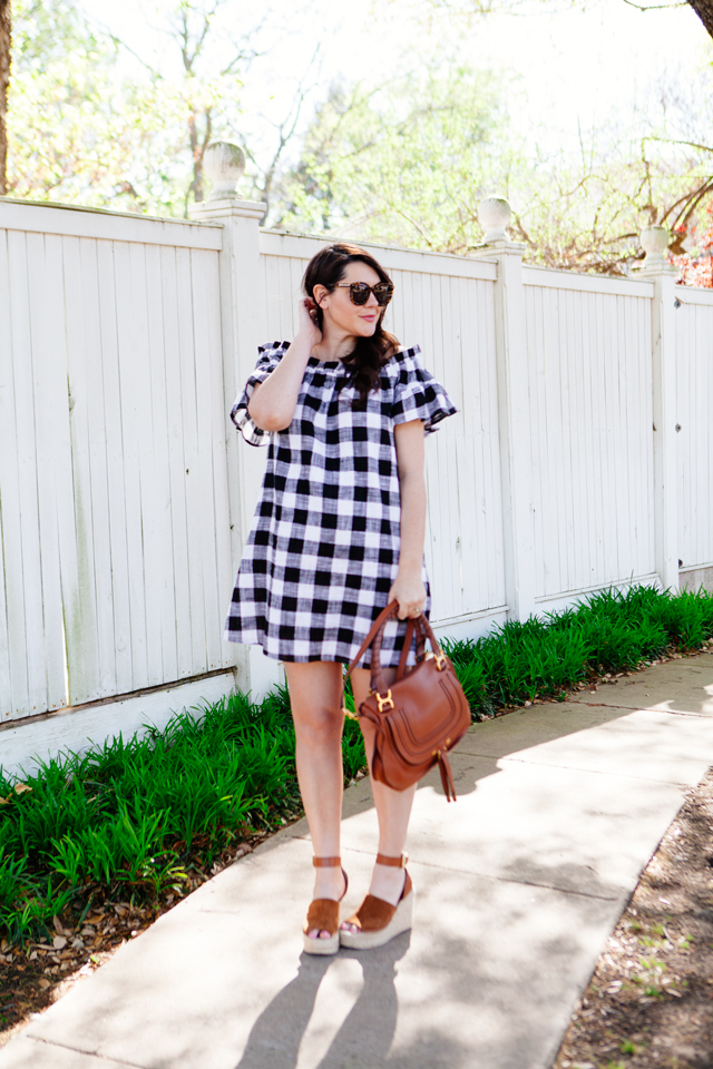 Gingham off the shoulder dress for spring. Maternity spring outfit ideas.
