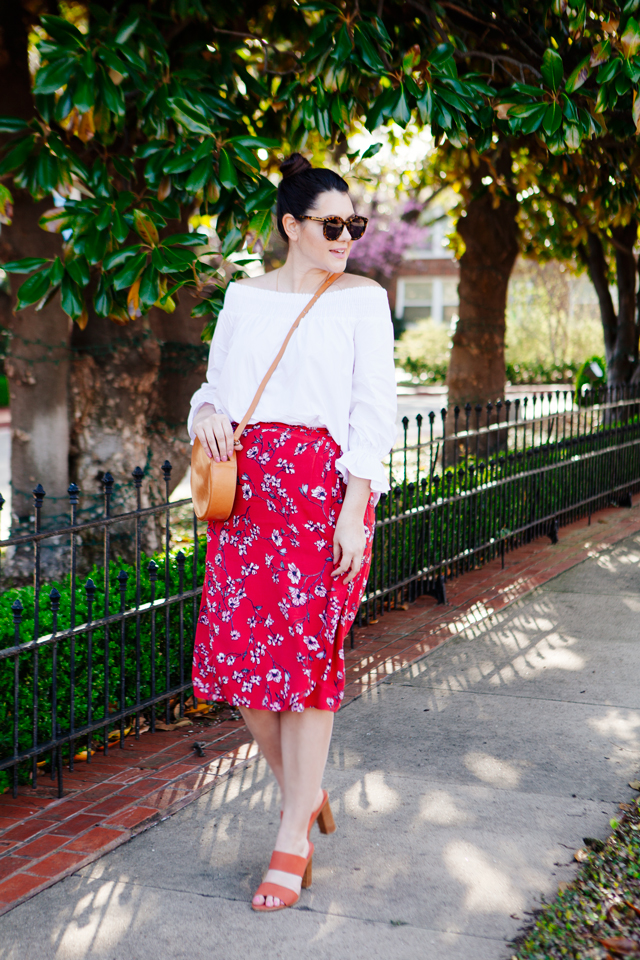 Red floral midi skirt and white off the shoulder outfit on Kendi Everyday