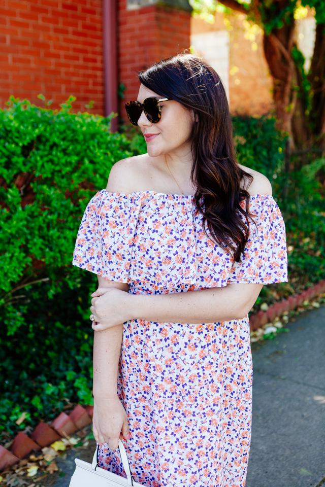 Floral Off the Shoulder Maxi Dress for Spring (maternity style)