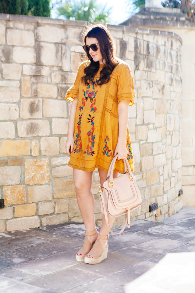 Free People Embroidered Dress with Marc Fisher Espadrilles. Maternity Style at 17 weeks.