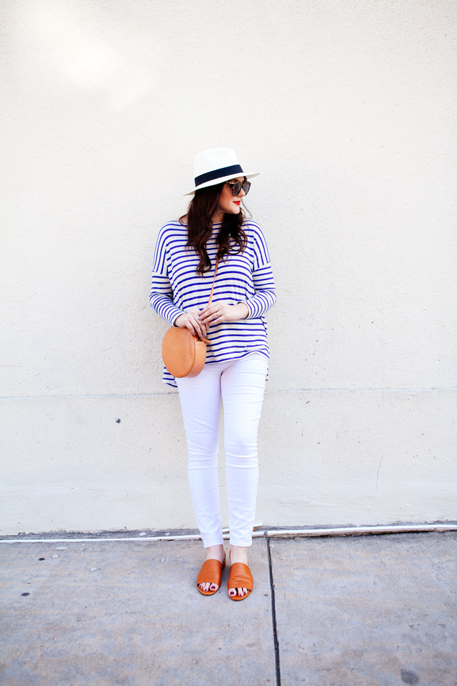 The Great striped tee and Loft maternity white jeans on Kendi Everyday. Maternity Style outfit.