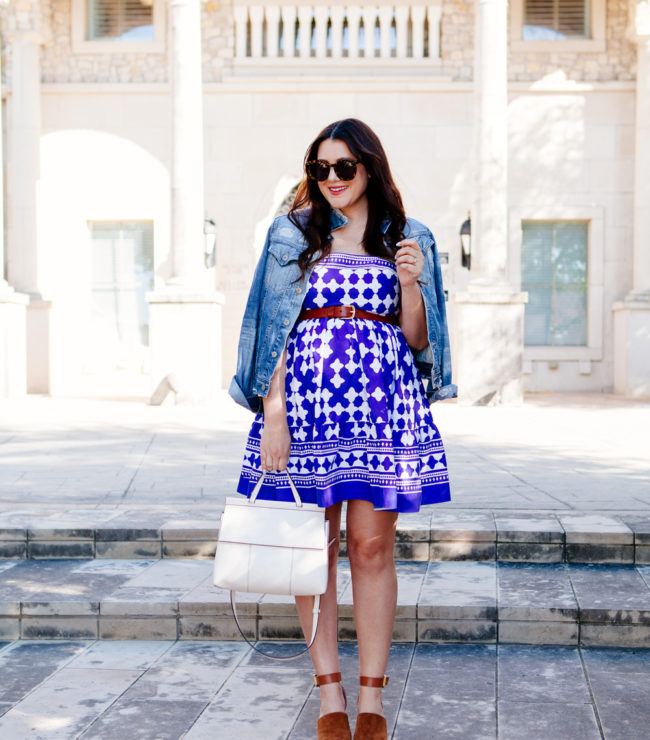 Kate Spade Dress with over the shoulder denim jacket. Maternity style.