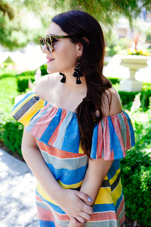 Shopbop striped off the shoulder dress, maternity style.