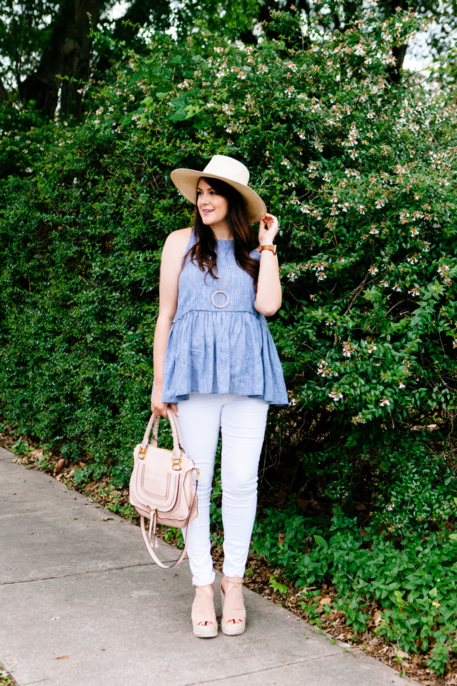 Peplum Tank with white jeans, maternity style.