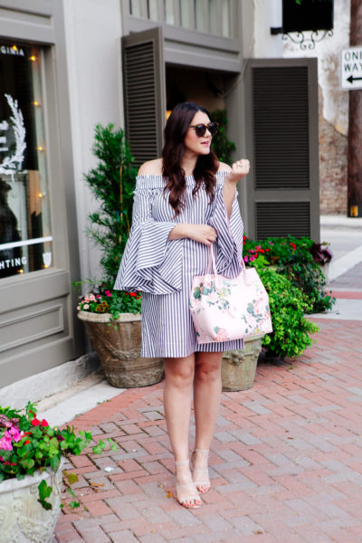 Striped Off the Shoulder Dress with Floral Purse outfit.