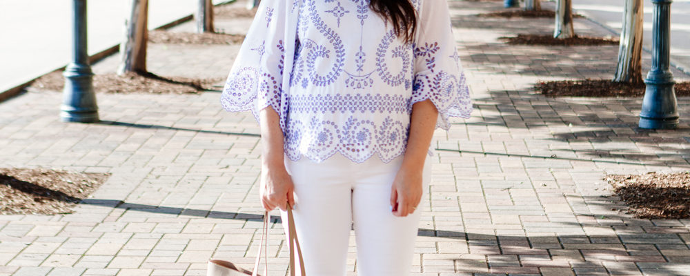Tory Burch Embroidered Tunic with white jeans.