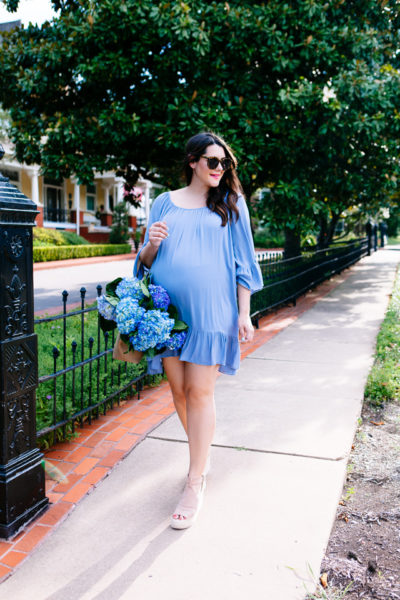 Blue summer dress, maternity style