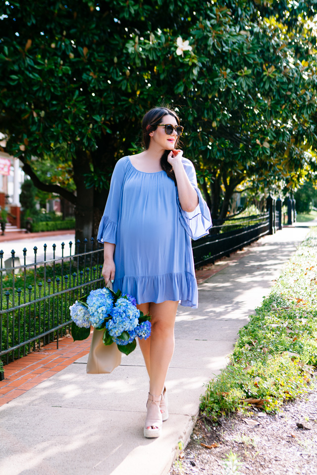 Blue summer dress, maternity style