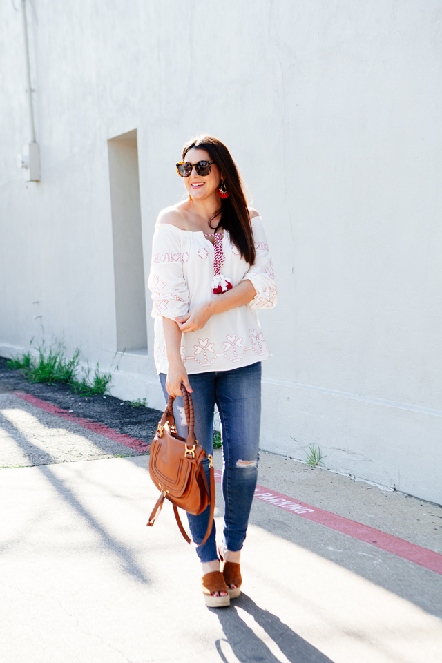 Off the shoulder top for summer. Maternity outfit ideas.