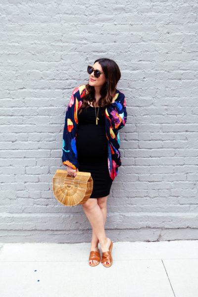 Maternity style, kimono and body con dress.