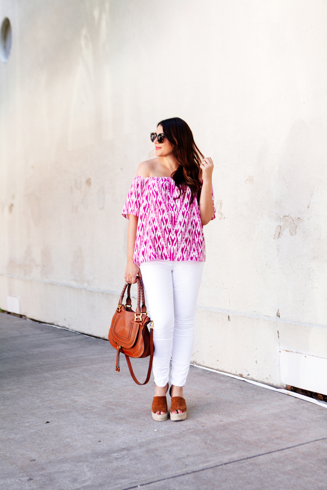 Ikat top with white jeans. Maternity summer style.