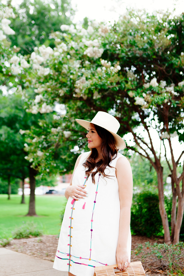Maternity summer style, embroidered sundress