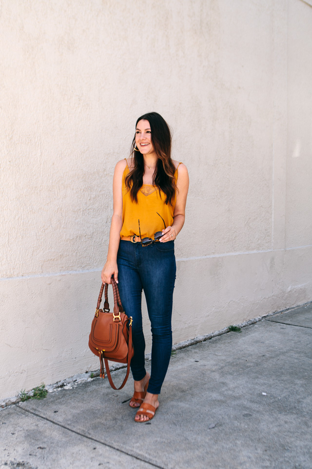 free people camisole bauble bar tansiana earrings mott bow jeans 11 - Colour Crush: Mustard Yellow