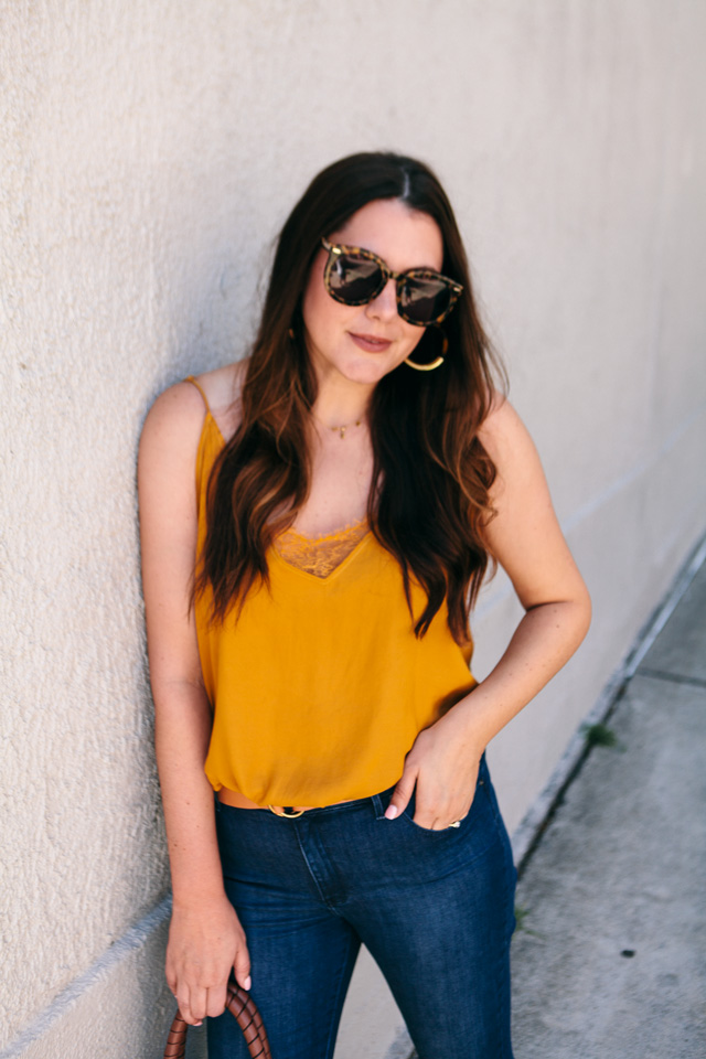 free people camisole bauble bar tansiana earrings mott bow jeans 12 - Colour Crush: Mustard Yellow