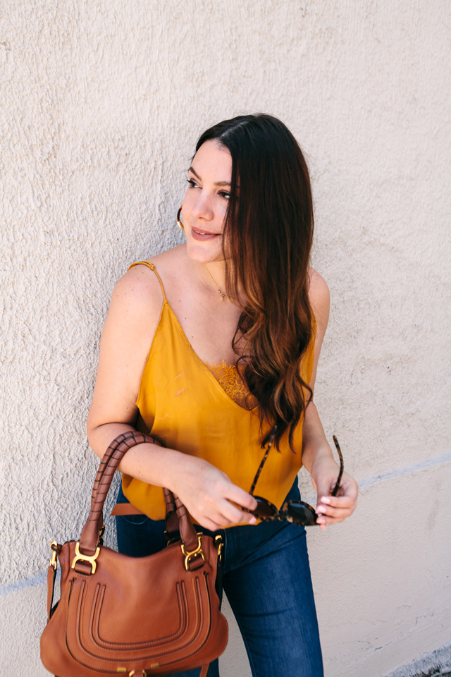 free people camisole bauble bar tansiana earrings mott bow jeans 3 - Colour Crush: Mustard Yellow