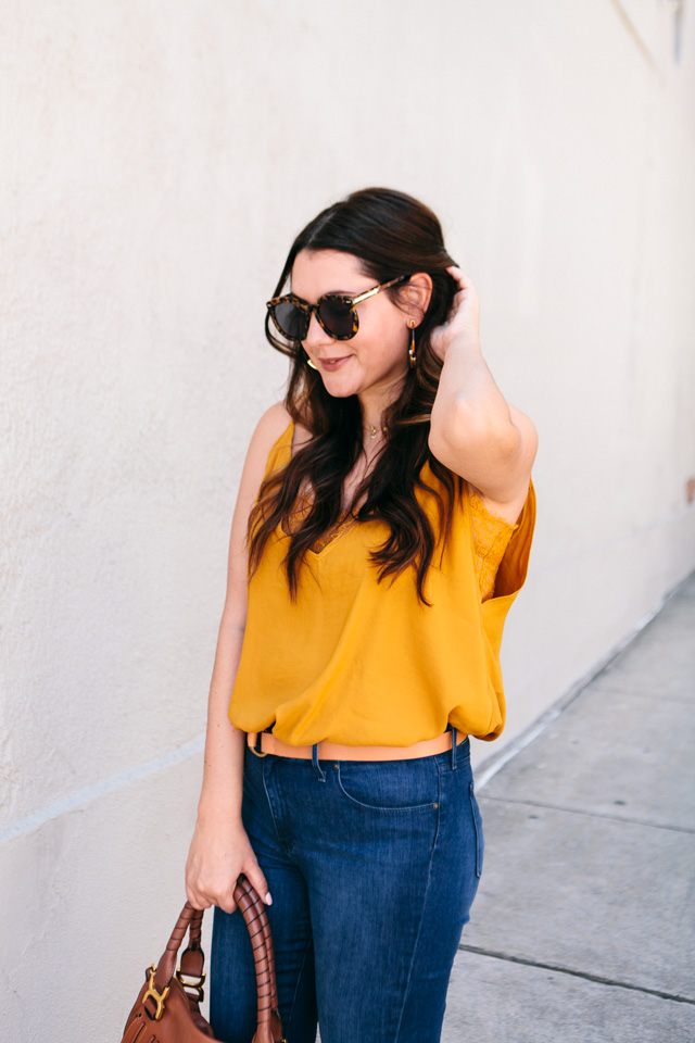 free people camisole bauble bar tansiana earrings mott bow jeans 6 - Colour Crush: Mustard Yellow