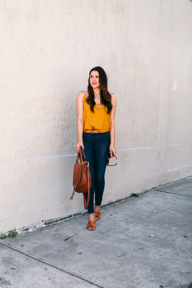 free people camisole bauble bar tansiana earrings mott bow jeans 9 - Colour Crush: Mustard Yellow