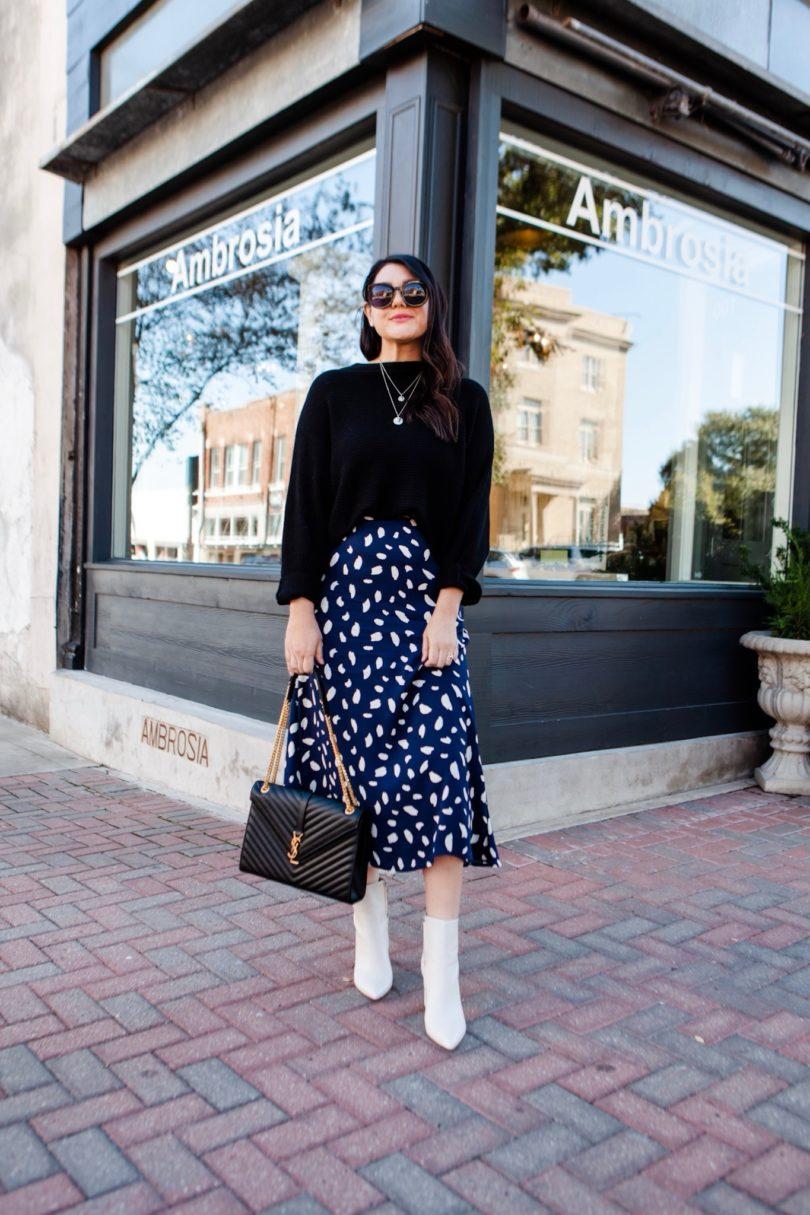 midi dress and boots
