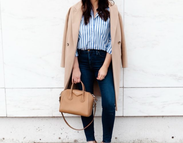 Striped Button Down with Camel Coat