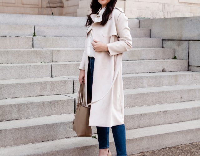 Silk Blouse with Suede Trench